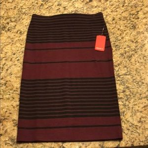 New w/ tags Maroon and black striped pencil skirt